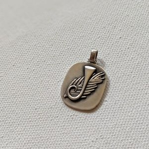 Vintage John Avery sterling silver feather pendant